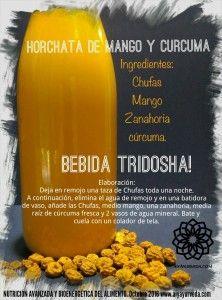 Horchata ayurveda de mango, zanahoria y cúrcuma